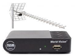 Комплект цифрового ТВ World Vision T65M + Антенна ДМВ наружная Energy SRT ANT 19