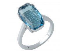 Серебряное кольцо Silver Breeze с топазом nano Лондон Блю 18 размер (1975954-18)