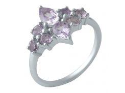 Серебряное кольцо Silver Breeze с натуральным аметистом 17.5 размер (1998984)