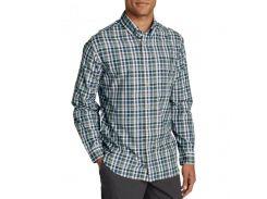 Рубашка Eddie Bauer Mens Long-Sleeve Poplin Shirt Nordic BLUE PLAID L Синий (8260BLPL-L)