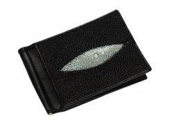 Зажим для денег из кожи морского ската Черный (ctc01)