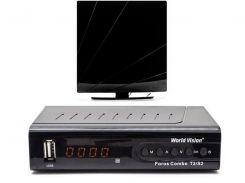 Комплект цифрового ТВ World Vision Foros Combo + Комнатная антенна ARU-01 (черна