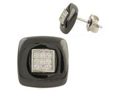 Серебряные серьги SilverBreeze с керамикой (1154748)