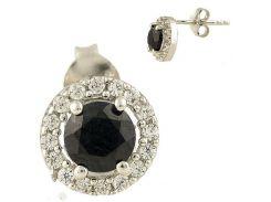 Серебряные серьги SilverBreeze с натуральным сапфиром (0634661)