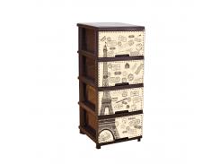 Комод с декором 4-х секционный Париж Темно-коричневый (18-123093-6)