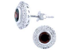 Серебряные серьги SilverBreeze с натуральным гранатом (1764220)