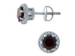 Серебряные серьги SilverBreeze с натуральным гранатом (1966679)