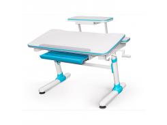 Детский стол Evo-Kids Duke Blue с полкой - столешница белая / вставки голубые