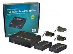 MP8158 - Усилитель-распределитель HDMI 1:2 по CAT 5/6 с приемниками в комплекте, до 50 метров.