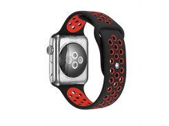 Ремешок перфорация, Soft touch для Apple Watch (42мм) чёрно-красный