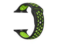Ремешок перфорация, Soft touch для Apple Watch (42мм) черно-салатовый