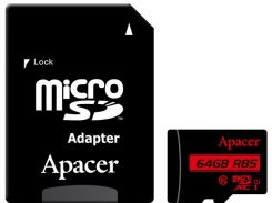 Карта памяти Apacer microSDXC 64GB UHS-I U1 Class 10 (AP64GMCSX10U5-R) + SD адаптер