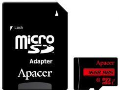 Карта памяти Apacer microSDHC 16GB UHS-I U1 Class 10 (AP16GMCSH10U5-R) + SD адаптер