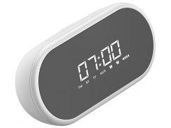 Будильник колонка с FM радио Baseus Encok Wireless Speaker E09 White (NGE09-02) настольные часы