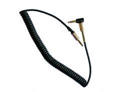 Аудио кабель AUX 3.5x3.5, боковой - пружина /Protection VIP Metall L-Jack/1,8m. Black