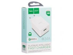 Быстрая сетевая зарядка HOCO C34A Platinum 1 USB / 3A / 18W / Quick Charge 3.0 White