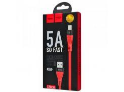 Кабель HOCO U53 Flash Cable USB - Type-C 5A/1,2m. Red  для зарядки и синхронизации