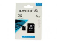 Карта памяти microSDHC Team 4Gb class 4 (adapter SD) (TUSDH4GCL403)