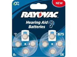 Воздушно-цинковый батарейки RAYOVAC 675 (PR44) для слуховых аппаратов, 8шт