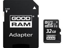 Карта памяти GoodRam microSDHC 32GB Class 10 UHS I (M1AA-0320R12) + SD адаптер