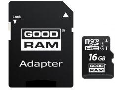 Карта памяти GoodRam microSDHC 16GB Class 10 UHS I (M1AA-0160R12) + SD адаптер