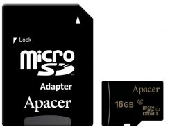 Карта памяти Apacer microSDHC 16GB UHS-I U1 Class 10 (AP16GMCSH10U1-R) + SD адаптер