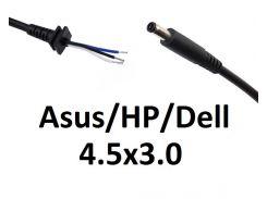Кабель для блока питания ноутбука Asus\HP\Dell 4.5x3.0 (Dell style) (до 5a) (T-type)