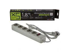 Сетевой фильтр LogicPower 5 розеток 1,8 м серый (LP-X5)
