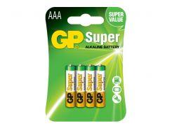 Батарейка GP Super Alkaline AAA \ LR03, 1.5V, C4, БЛ1*4шт (24A-U4)