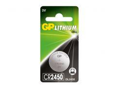 Батарейка GP LITHIUM CR2450, DL 2450, 5029LC, 1 шт.  CR2450-U1
