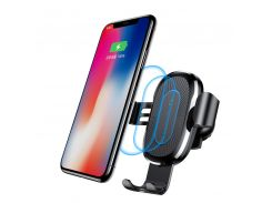 Тримач для мобiльного з БЗП Baseus Wireless Charger Gravity Car Mount black (WXYL-01)