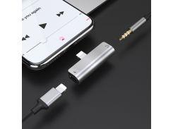 Аудио переходник HOCO LS-25 (Apple) Silver, Lightning + miniJack 3.5 (female)