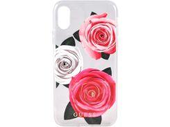 Чехол-накладка Guess Flower Desire (Transparent Hard Case With Pink and White Roses) для iPhone X GUHCPXROSTRT