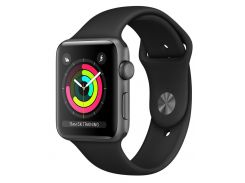 Apple Watch Series 3 38mm Space Gray Aluminum Case with Black Sport Band (MTF02FS/A)
