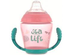 Кружка-непроливайка с мягким силиконовым носиком Sea Life, розовая, Canpol babies