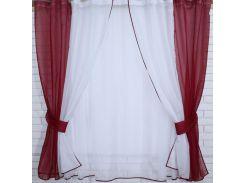 Кухонный комплект тюль и шторки (1,7 м), бордовый с белым, VR-Textil