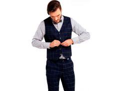 Мужской классический жилет, синий в клетку, размер XL, Dilovyi