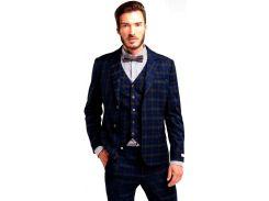 Мужской классический пиджак в клетку, синий, размер XL, Dilovyi