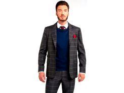 Мужской пиджак в широкую клетку, серый, размер M, Dilovyi