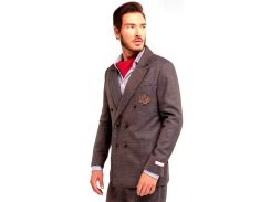 Мужской пиджак двубортный, коричневый, размер L, Dilovyi
