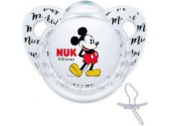 Ортодонтическая пустышка силиконовая Trendline Disney Микки, 6-18 мес. (белая), NUK