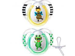 Ортодонтические пустышки Веселые друзья пчелка и лягушка, 0-6 месяцев (2 штуки), Tommee Tippee