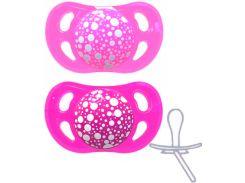 Ортодонтические силиконовые пустышки (2 штуки), 0-6 мес, розовая/фиолетовая, Twistshake