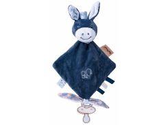 Ослик Алекс, держатель для пустышки, мягкая игрушка квадратная, Nattou