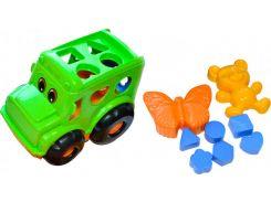 Песочный набор, Автобус (зеленый) с вкладышами и 2 пасочками, Numo toys
