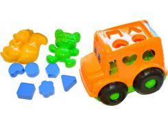Песочный набор, Автобус (оранжевый) с вкладышами и 2 пасочками, Numo toys