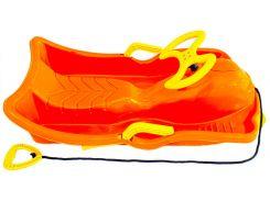 Санки пластиковые с рулем, оранжевые (до 90 кг), Kronos Toys