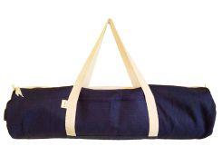Сумка-чехол для йоги коврика Eco Blue, темно-синий с белой молнией и ручками, Foyo