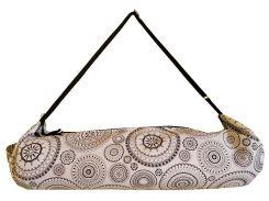 Сумка-чехол для йоги коврика Ethno Black B, черный рисунок с черной лямкой, Foyo