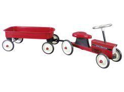 Толокар Трактор с тележкой, красный, Goki